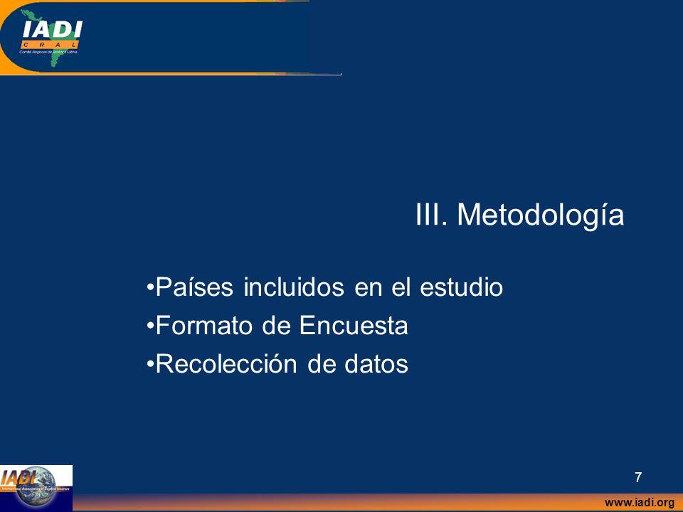 III. Metodología Países incluidos en el estudio Formato de Encuesta