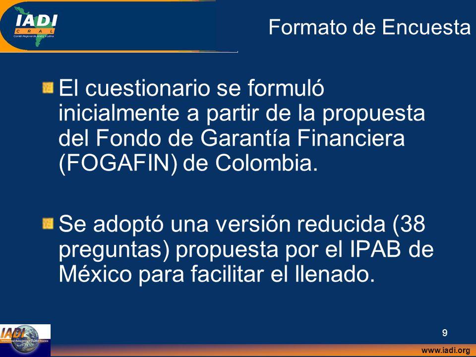 Formato de Encuesta El cuestionario se formuló inicialmente a partir de la propuesta del Fondo de Garantía Financiera (FOGAFIN) de Colombia.