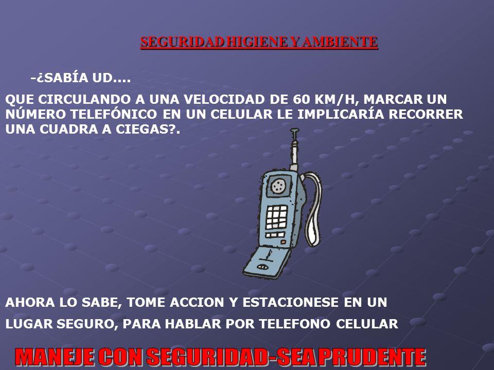 -¿SABÍA UD.... QUE CIRCULANDO A UNA VELOCIDAD DE 60 KM/H, MARCAR UN NÚMERO TELEFÓNICO EN UN CELULAR LE IMPLICARÍA RECORRER UNA CUADRA A CIEGAS .