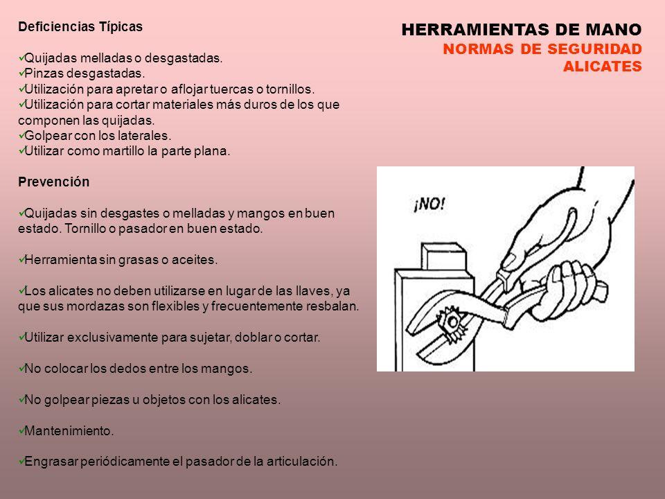 HERRAMIENTAS DE MANO NORMAS DE SEGURIDAD ALICATES Deficiencias Típicas