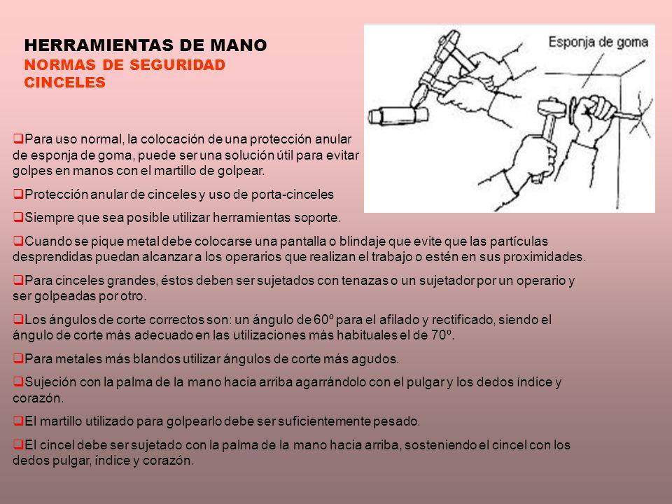 HERRAMIENTAS DE MANO NORMAS DE SEGURIDAD CINCELES