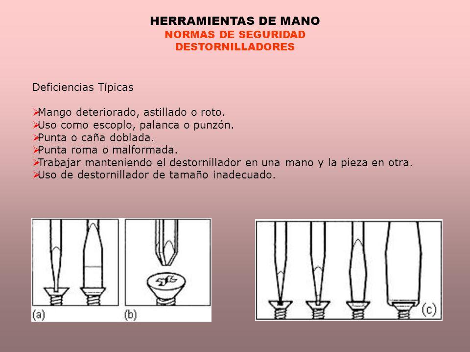 HERRAMIENTAS DE MANO NORMAS DE SEGURIDAD DESTORNILLADORES
