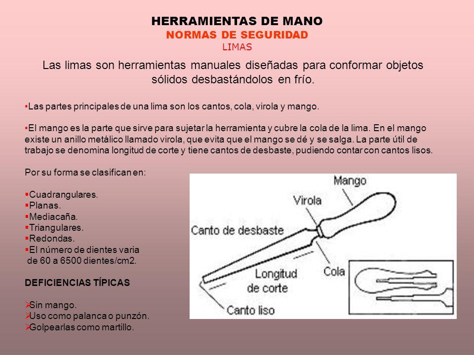 HERRAMIENTAS DE MANO NORMAS DE SEGURIDAD. LIMAS.