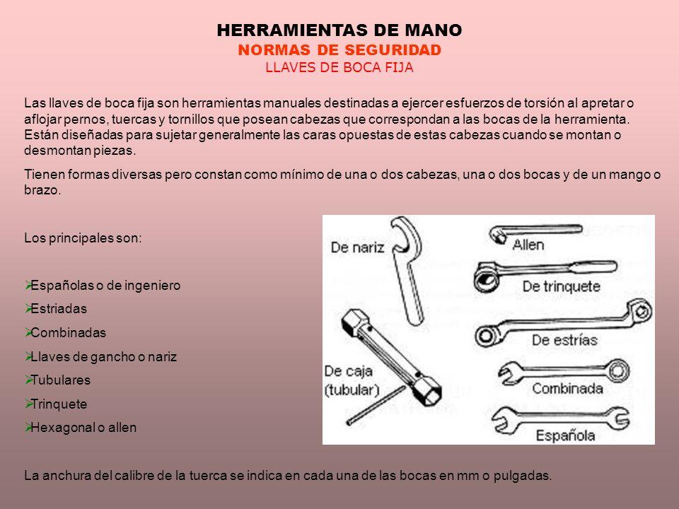 HERRAMIENTAS DE MANO NORMAS DE SEGURIDAD LLAVES DE BOCA FIJA