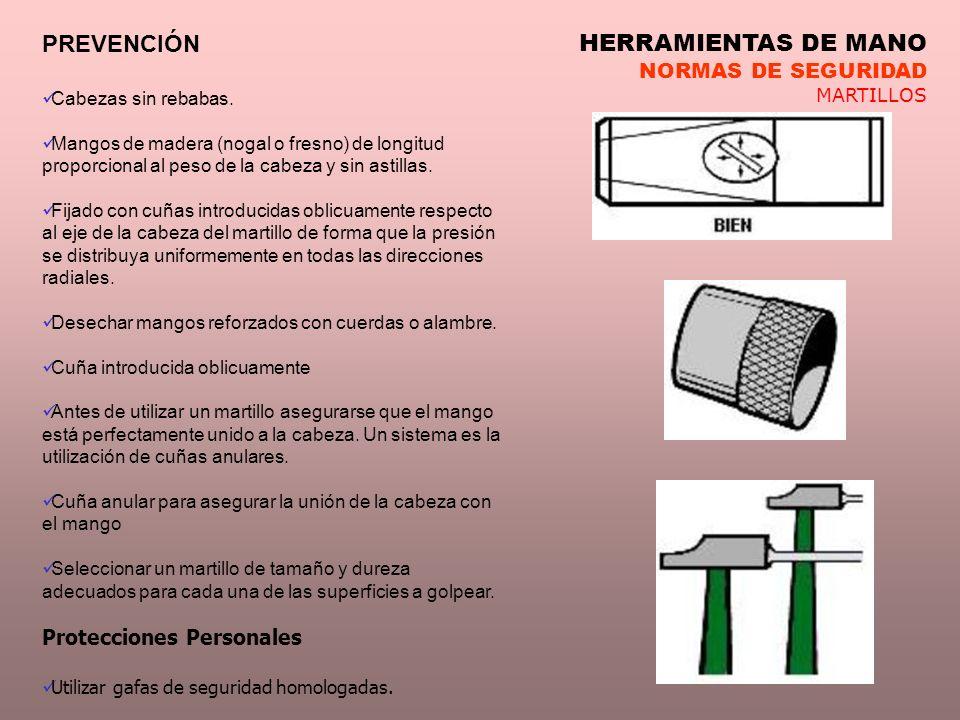 PREVENCIÓN HERRAMIENTAS DE MANO NORMAS DE SEGURIDAD