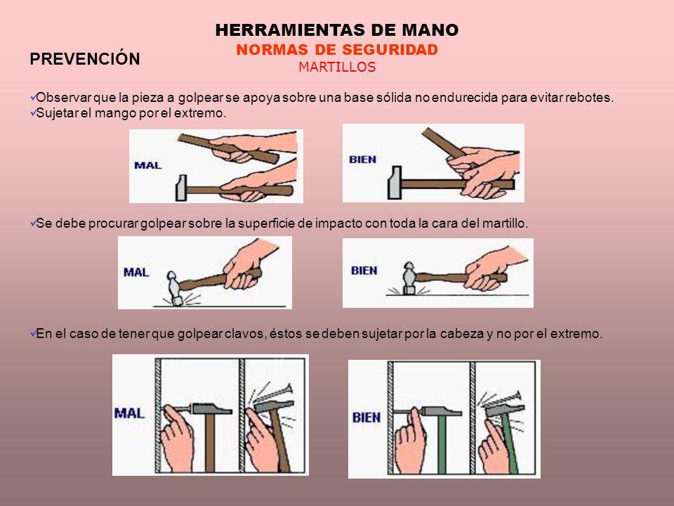 HERRAMIENTAS DE MANO PREVENCIÓN NORMAS DE SEGURIDAD MARTILLOS