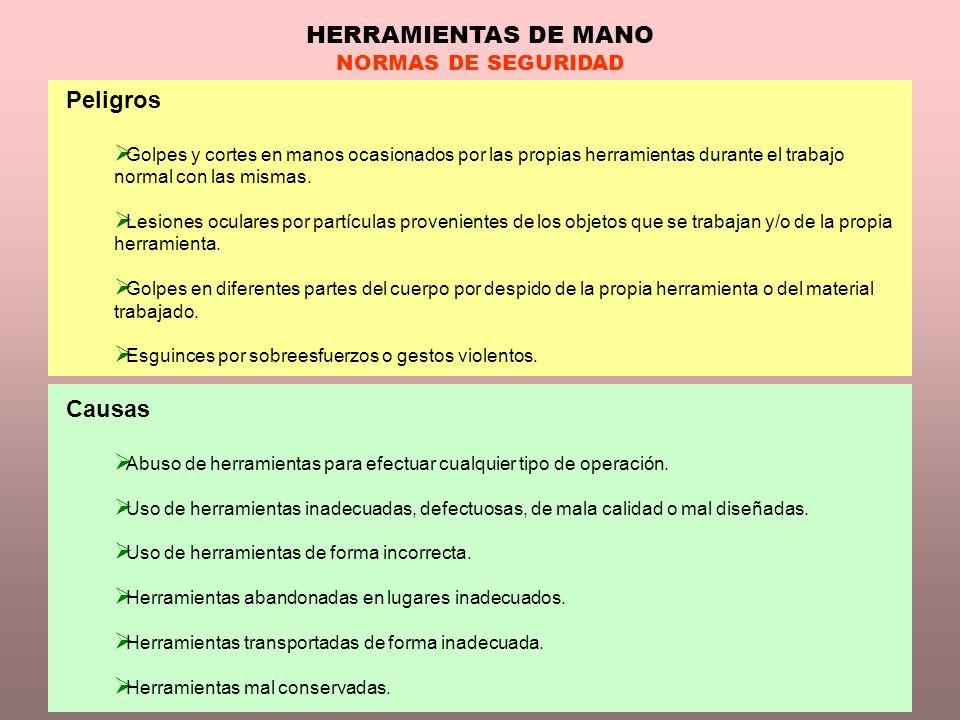 HERRAMIENTAS DE MANO Peligros Causas NORMAS DE SEGURIDAD