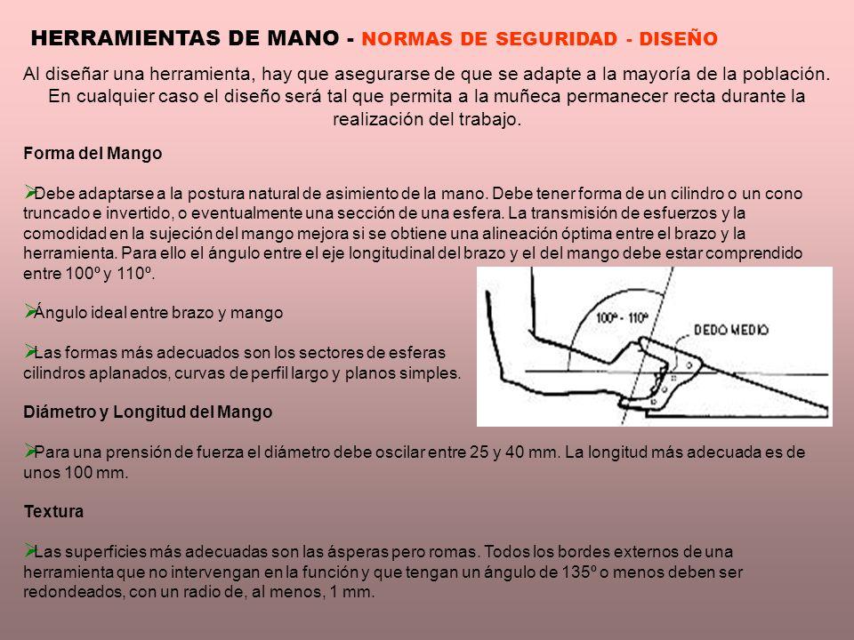 HERRAMIENTAS DE MANO - NORMAS DE SEGURIDAD - DISEÑO