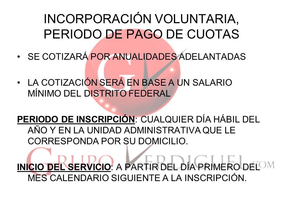INCORPORACIÓN VOLUNTARIA, PERIODO DE PAGO DE CUOTAS