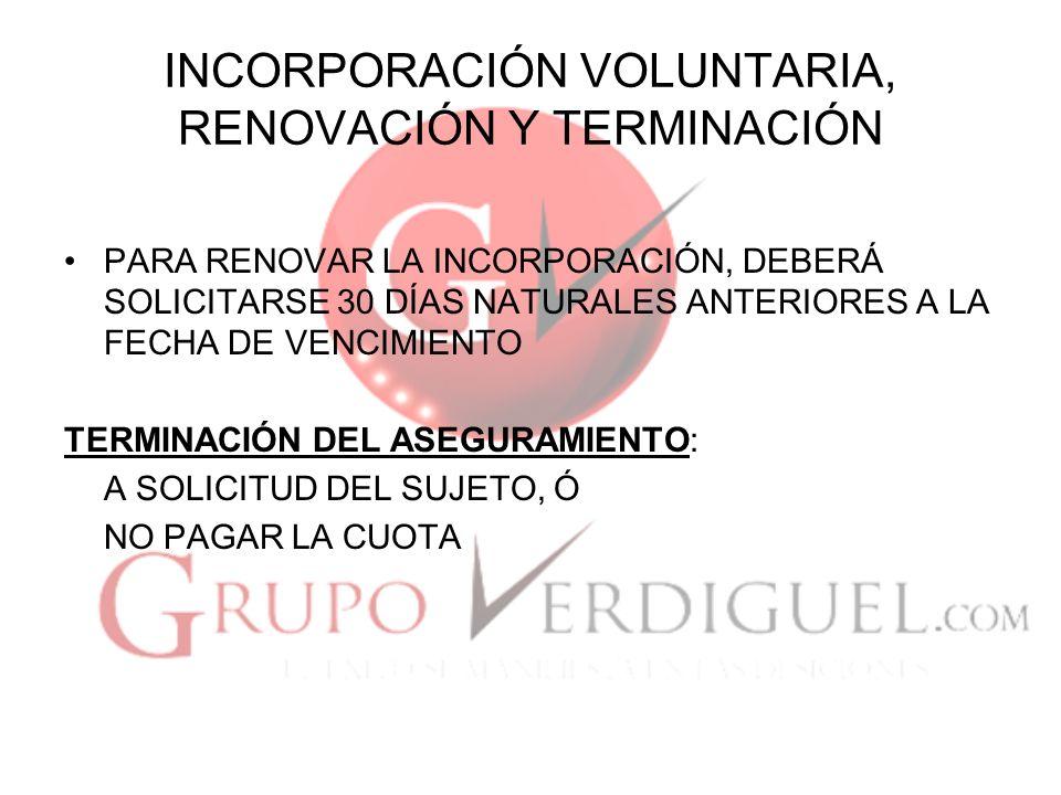 INCORPORACIÓN VOLUNTARIA, RENOVACIÓN Y TERMINACIÓN