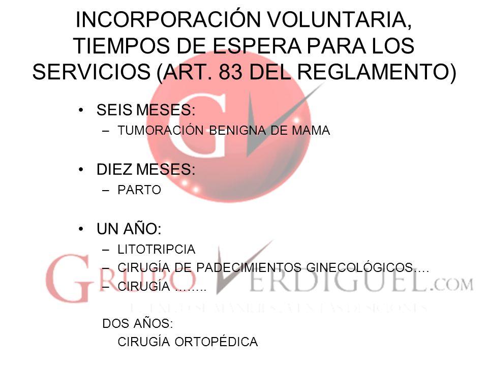 INCORPORACIÓN VOLUNTARIA, TIEMPOS DE ESPERA PARA LOS SERVICIOS (ART