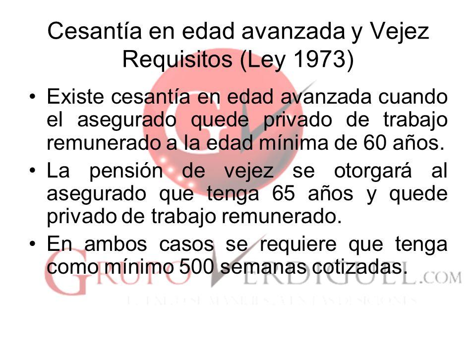 Cesantía en edad avanzada y Vejez Requisitos (Ley 1973)