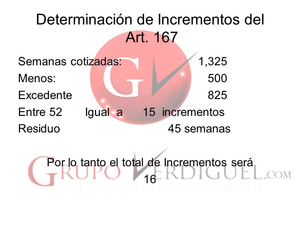 Determinación de Incrementos del Art. 167