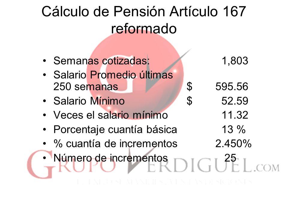Cálculo de Pensión Artículo 167 reformado