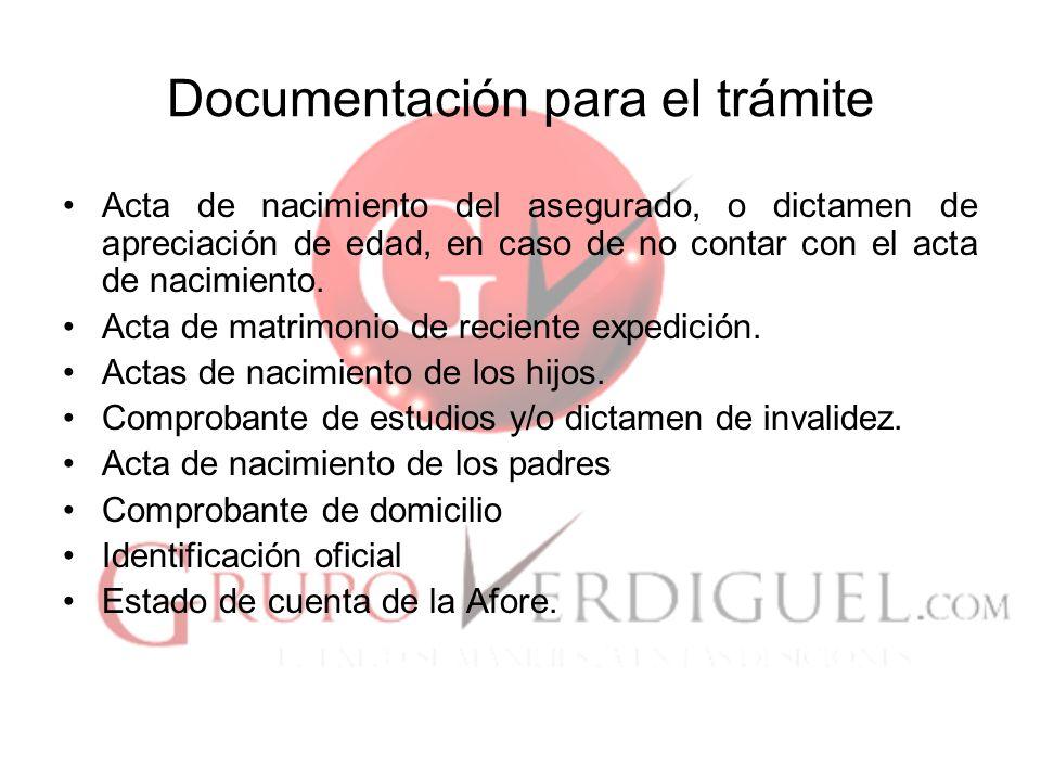 Documentación para el trámite
