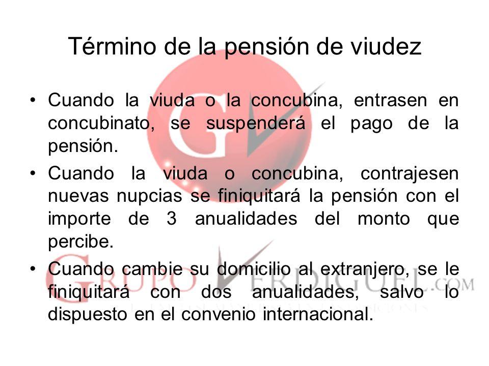 Término de la pensión de viudez