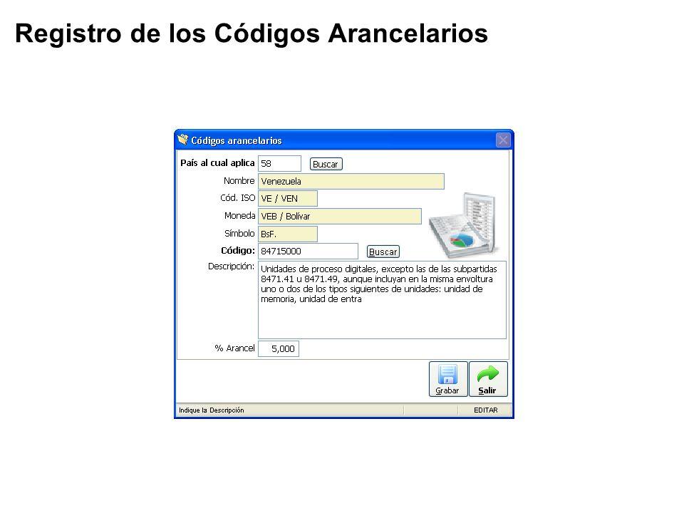 Registro de los Códigos Arancelarios