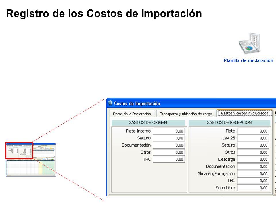 Registro de los Costos de Importación