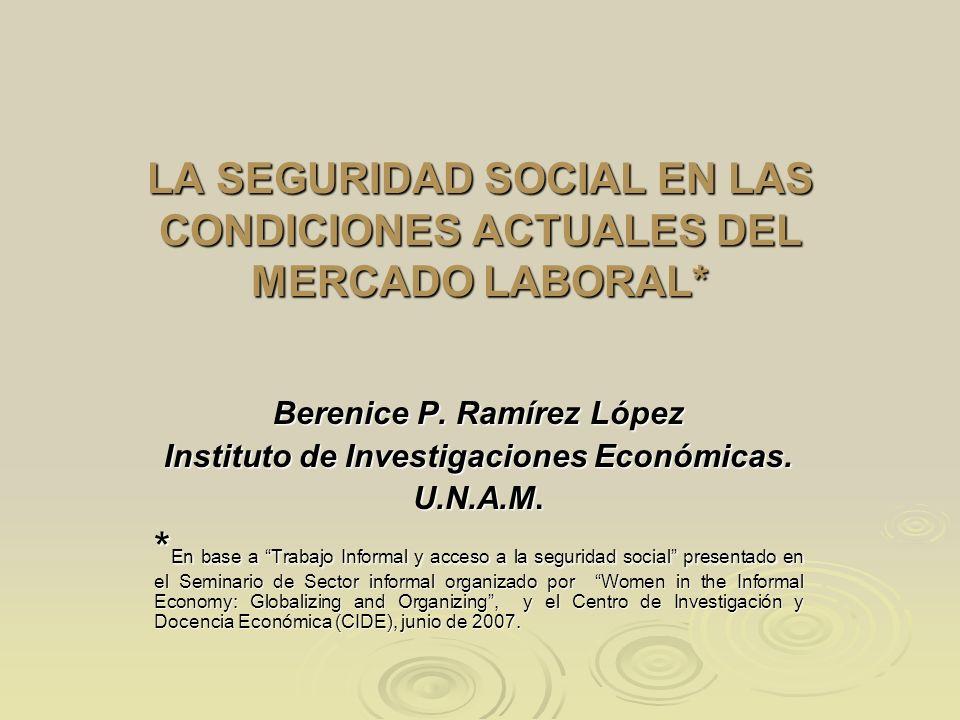LA SEGURIDAD SOCIAL EN LAS CONDICIONES ACTUALES DEL MERCADO LABORAL*