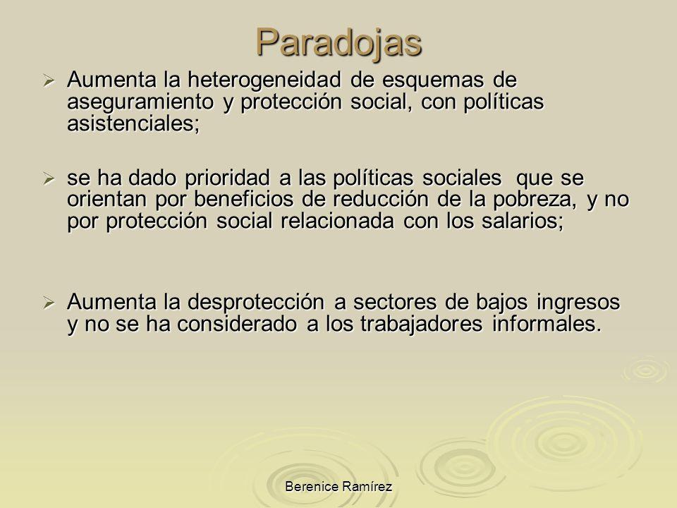 ParadojasAumenta la heterogeneidad de esquemas de aseguramiento y protección social, con políticas asistenciales;
