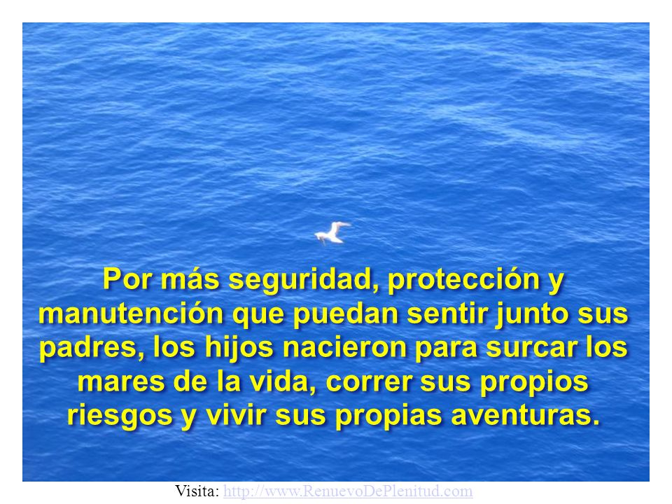 Por más seguridad, protección y manutención que puedan sentir junto sus padres, los hijos nacieron para surcar los mares de la vida, correr sus propios riesgos y vivir sus propias aventuras.