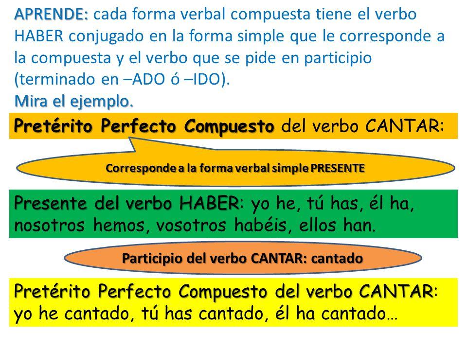 Pretérito Perfecto Compuesto del verbo CANTAR: