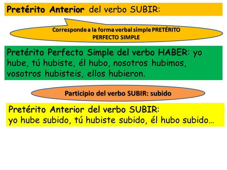 Pretérito Anterior del verbo SUBIR: