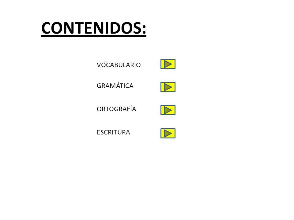 CONTENIDOS: VOCABULARIO GRAMÁTICA ORTOGRAFÍA ESCRITURA