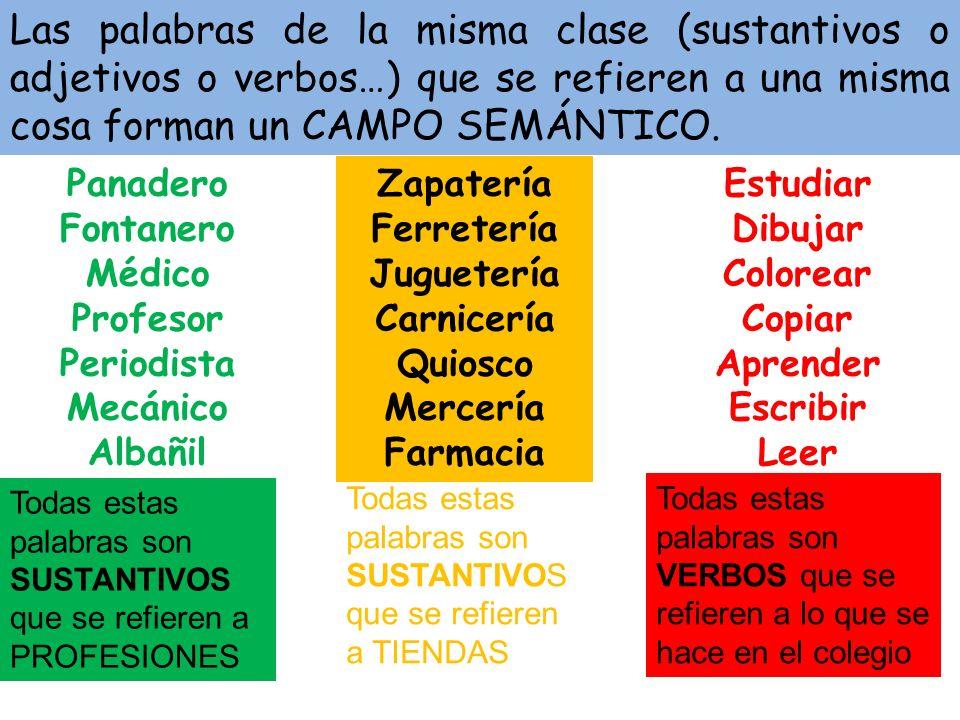 Las palabras de la misma clase (sustantivos o adjetivos o verbos…) que se refieren a una misma cosa forman un CAMPO SEMÁNTICO.