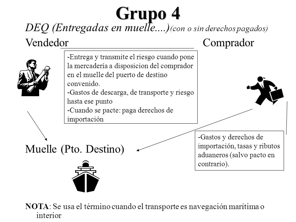 Grupo 4 DEQ (Entregadas en muelle....)(con o sin derechos pagados)