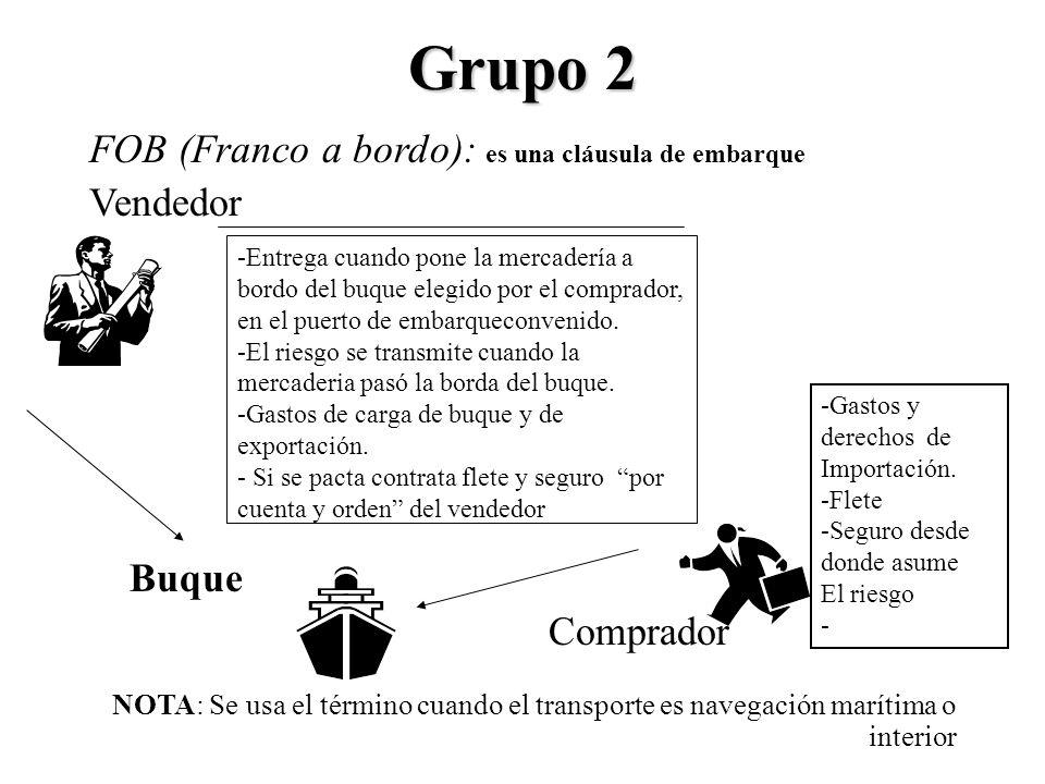 Grupo 2 FOB (Franco a bordo): es una cláusula de embarque Vendedor