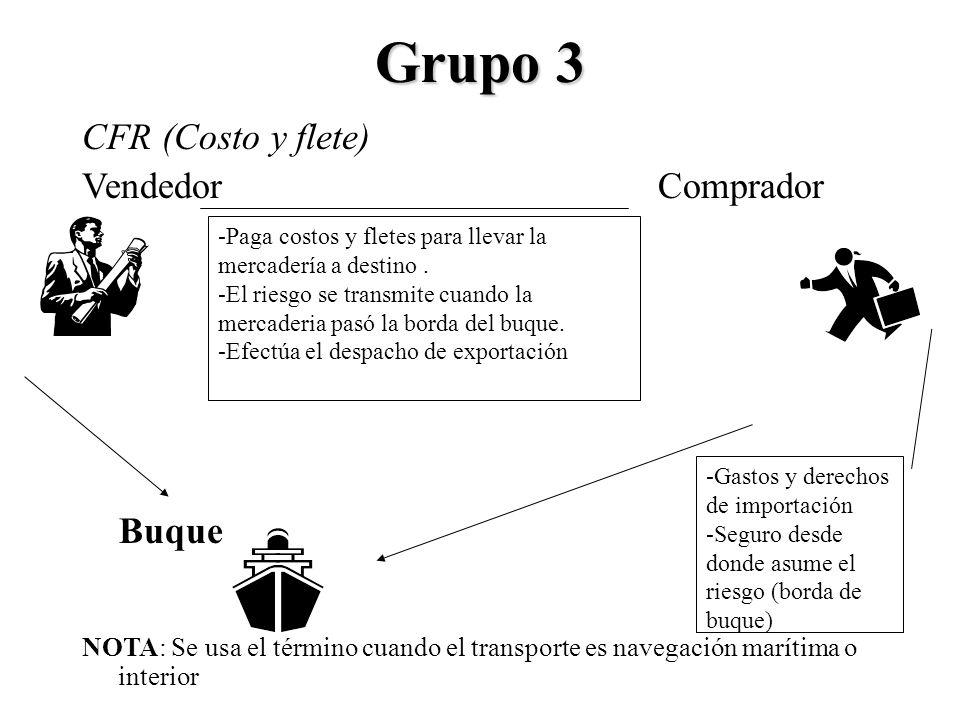Grupo 3 CFR (Costo y flete) Vendedor Comprador Buque