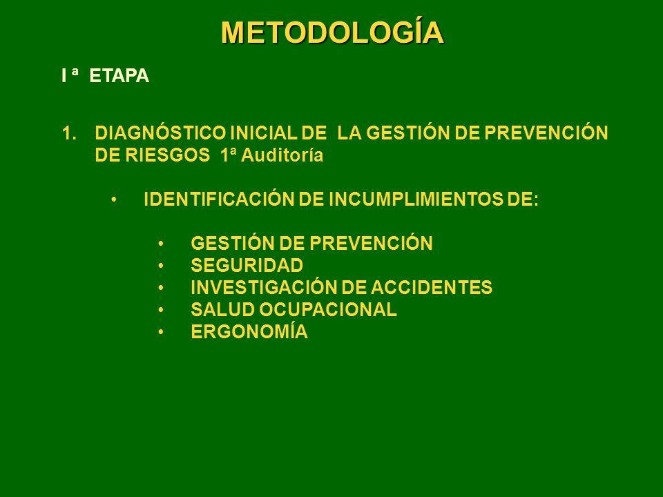 METODOLOGÍA I ª ETAPA. DIAGNÓSTICO INICIAL DE LA GESTIÓN DE PREVENCIÓN DE RIESGOS 1ª Auditoría.