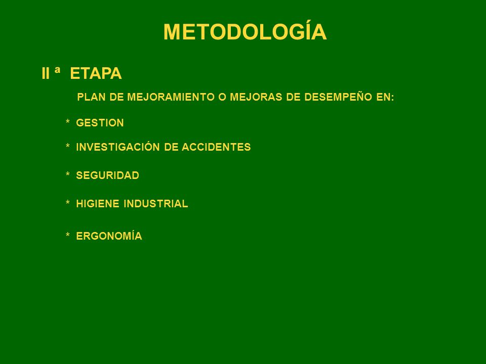 METODOLOGÍA II ª ETAPA PLAN DE MEJORAMIENTO O MEJORAS DE DESEMPEÑO EN: