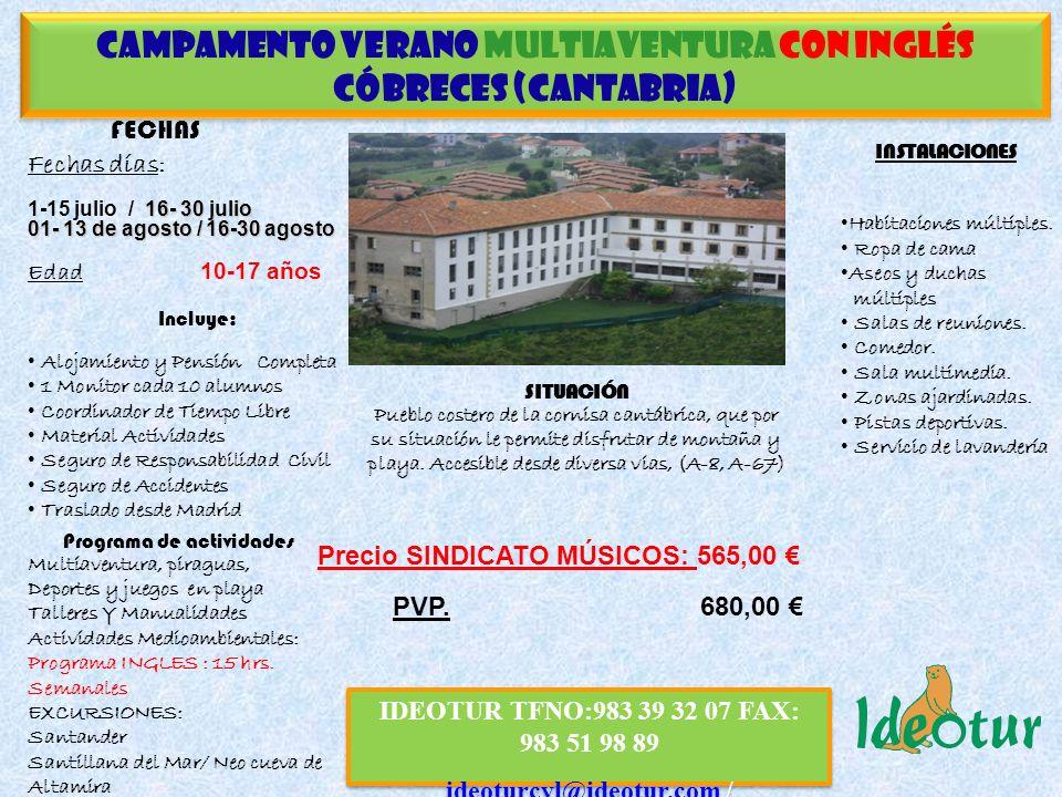 CAMPAMENTO Verano multiaventura CON INGLÉS CÓBRECES (CANTABRIA)