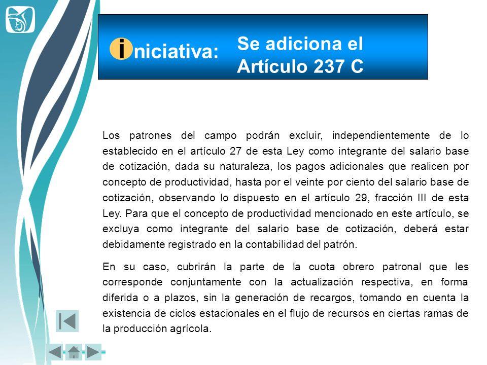 i niciativa: Se adiciona el Artículo 237 C