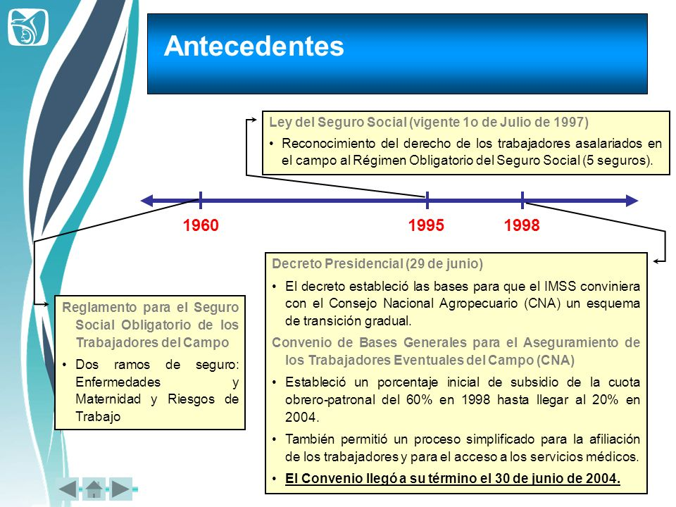 AntecedentesLey del Seguro Social (vigente 1o de Julio de 1997)