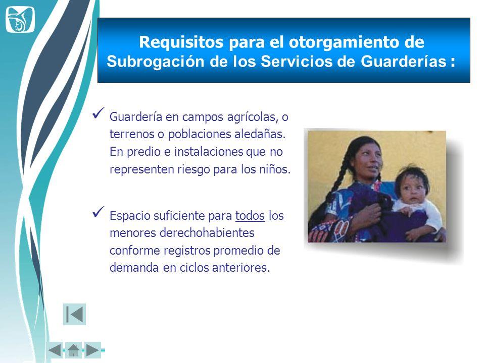 Requisitos para el otorgamiento de Subrogación de los Servicios de Guarderías :