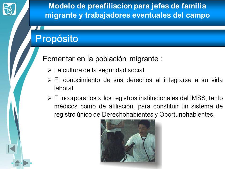 Modelo de preafiliacion para jefes de familia migrante y trabajadores eventuales del campo