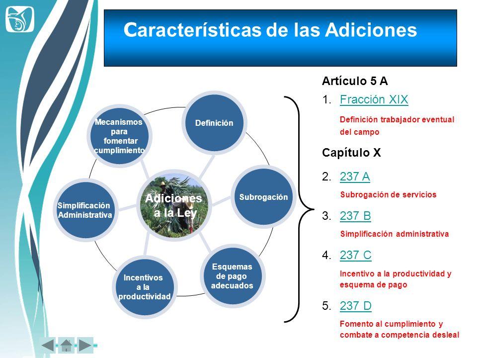 Características de las Adiciones