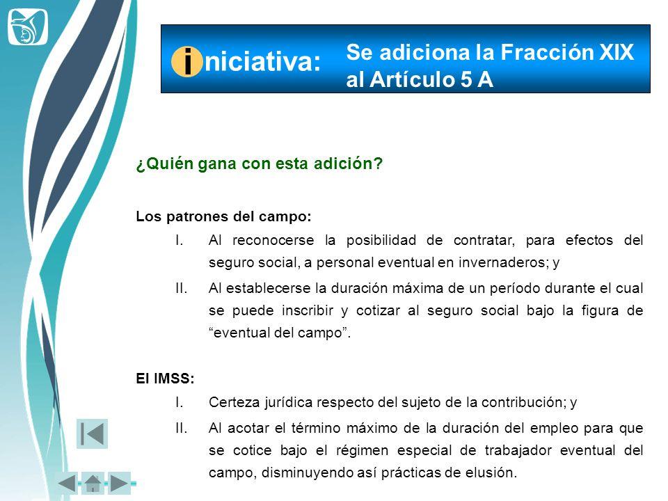 i niciativa: Se adiciona la Fracción XIX al Artículo 5 A