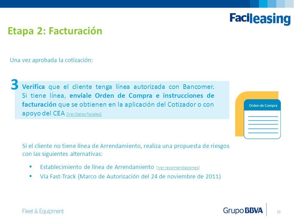 Etapa 2: Facturación Una vez aprobada la cotización: 3.