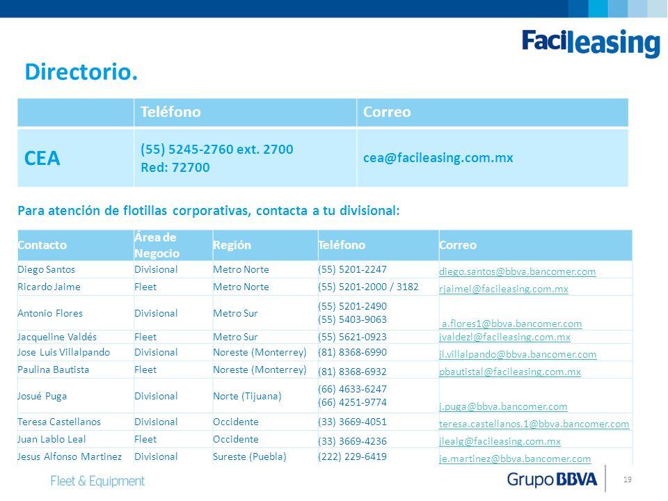Directorio. CEA Teléfono Correo (55) 5245-2760 ext. 2700