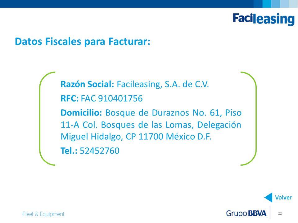 Datos Fiscales para Facturar: