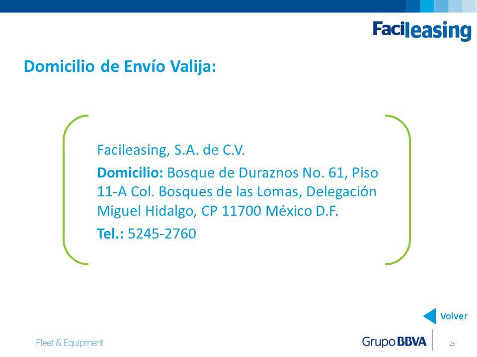 Domicilio de Envío Valija: