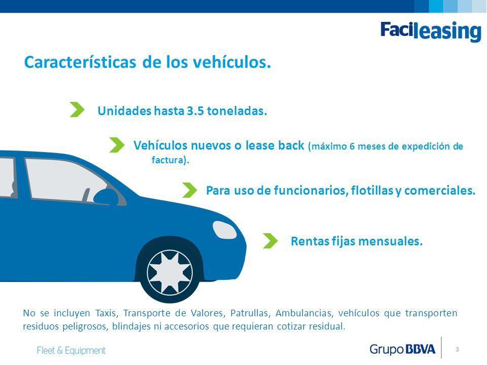 Características de los vehículos.