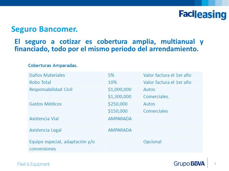 Seguro Bancomer. El seguro a cotizar es cobertura amplia, multianual y financiado, todo por el mismo periodo del arrendamiento.