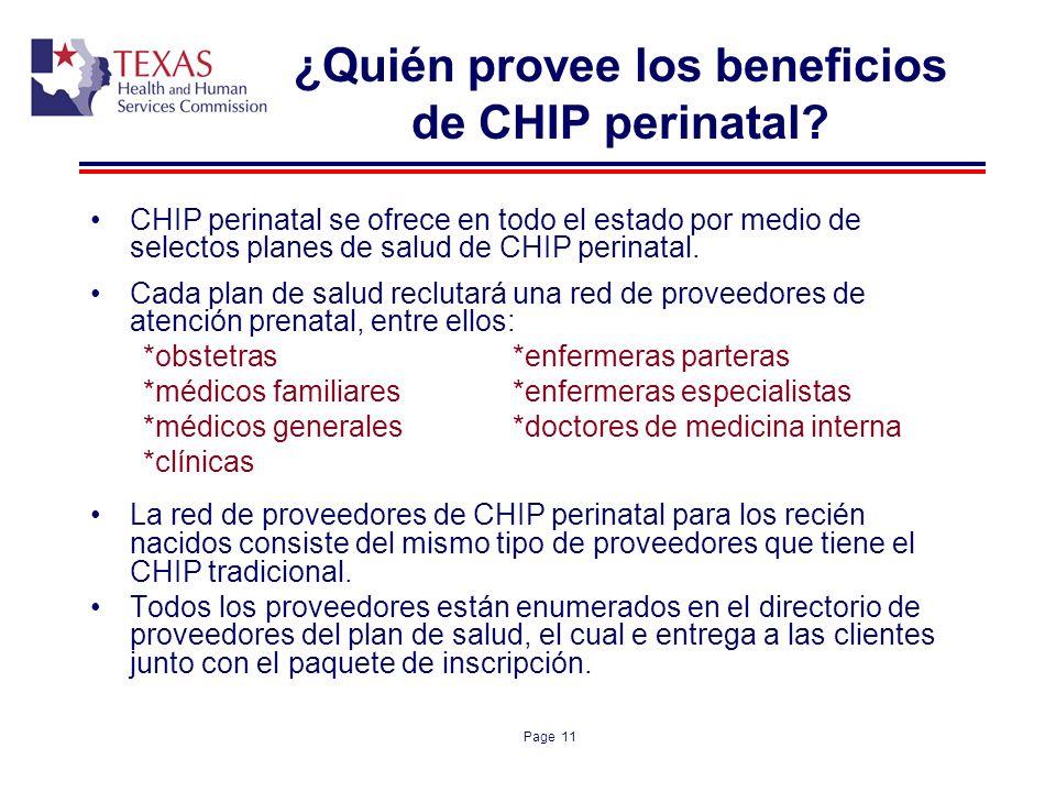 ¿Quién provee los beneficios de CHIP perinatal