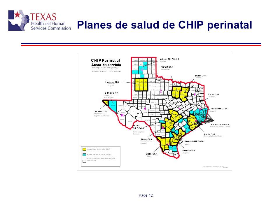 Planes de salud de CHIP perinatal