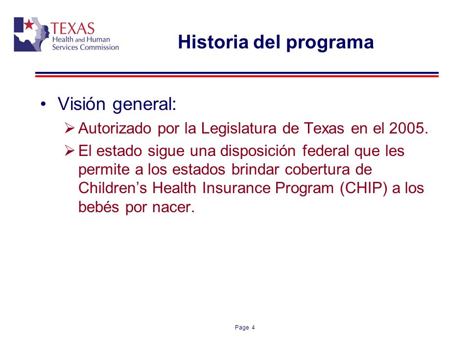Historia del programa Visión general: